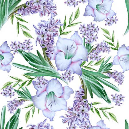 Bright seamless pattern with flowers. Gladiolus. Hyacinth. Watercolor illustration. Hand drawn.
