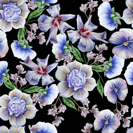 Bright seamless pattern with blue flowers. Pansies. Hibiscus. Watercolor illustration. Hand drawn.