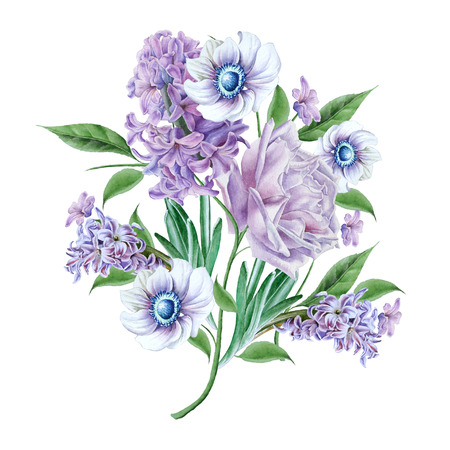 Watercolor bouquet with flowers.  Rose. Hyacinth. Anemone. Hand drawn. Фото со стока