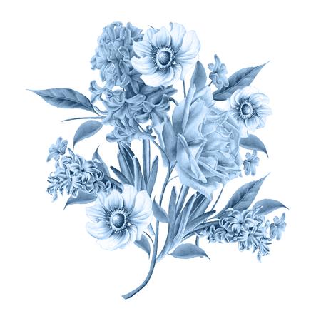 꽃 수채화 꽃다발입니다. 장미. 히아신스. 아네모네. 손으로 그린. 스톡 콘텐츠 - 98718685