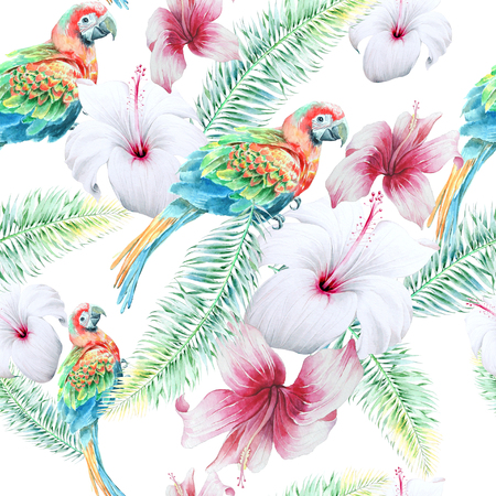 Bright seamless pattern with parrots and flowers. Hibiscus. Palm. Watercolor illustration. Hand drawn.