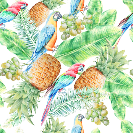Bright seamless pattern with parrots leaves and fruits. Palm.  Pineapple. Grapes. Watercolor illustration. Hand drawn. Banco de Imagens