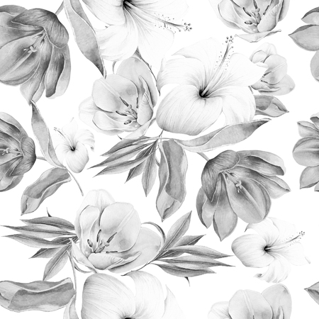 Monochrome seamless pattern with flowers. Tulip. Hibiscus. Watercolor illustration. Hand drawn. Stock Photo