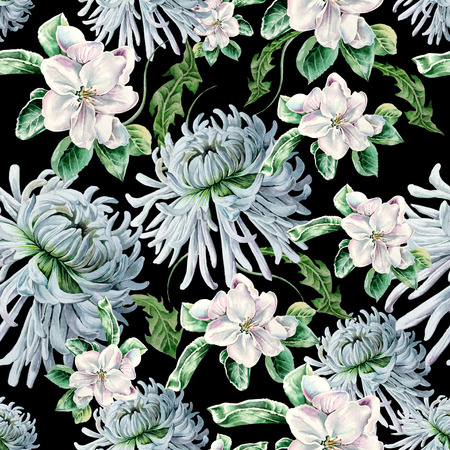 Bright seamless pattern with flowers. Blossom. Chrysanthemum. Watercolor illustration. Hand drawn. Stock Photo