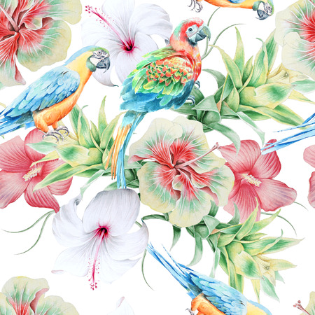 Bright seamless pattern with parrots and flowers. Hibiscus. Bromeliad. Watercolor illustration. Hand drawn.