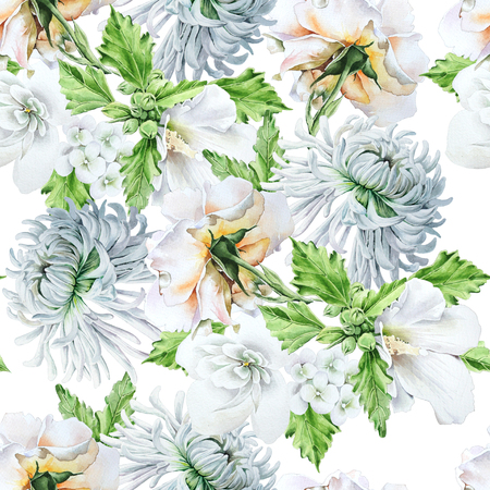 Bright seamless pattern with flowers. Chrysanthemum.  Mallow. Rose. Watercolor illustration. Hand drawn.