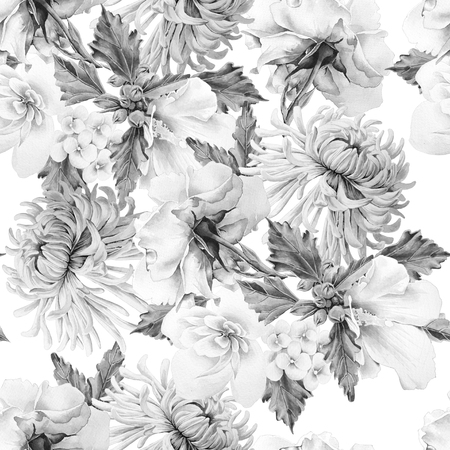 Monochrome seamless pattern with flowers. Chrysanthemum.  Mallow. Rose. Watercolor illustration. Hand drawn.