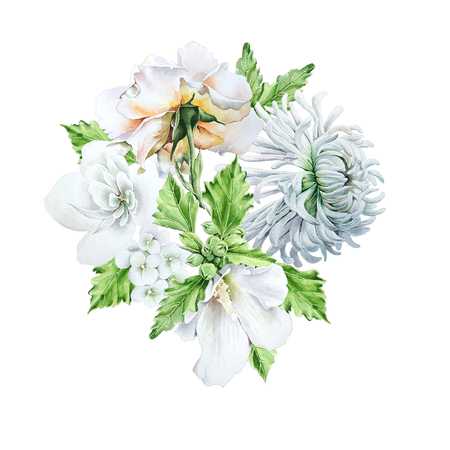 Watercolor bouquet with flowers.   Chrysanthemum.  Mallow. Rose. Watercolor illustration. Hand drawn.