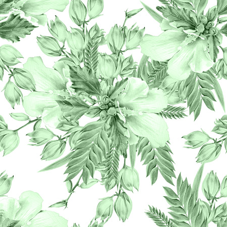 Bright seamless pattern with flowers. Mallow. Yucca. Watercolor illustration. Hand drawn.