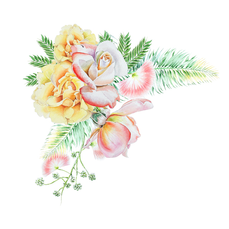 Watercolor bouquet with flowers.   Leaves. Rose. Watercolor illustration. Hand drawn.