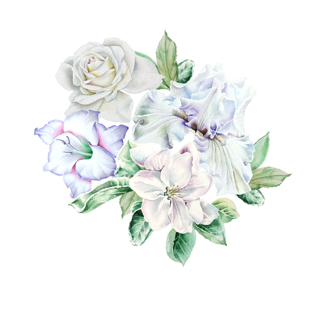 Watercolor bouquet with flowers.  Iris. Rose. Gladiolus. Blossom. Illustration. Hand drawn. Standard-Bild - 104520962