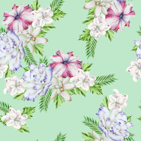 Bright seamless pattern with flowers. Petunia. Eustoma. Succulent. Watercolor illustration. Hand drawn. Stock Photo