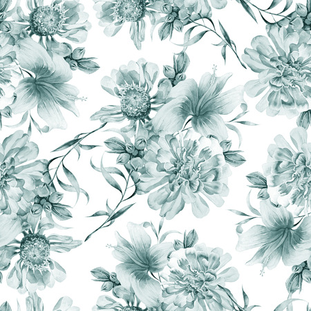 Seamless pattern with flowers. Peony. Hibiscus. Watercolor illustration. Hand drawn.