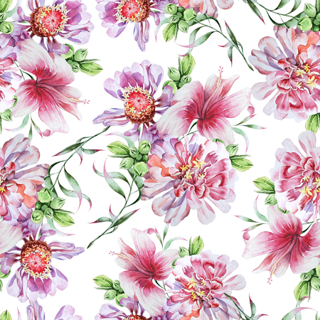 Bright seamless pattern with flowers. Peony. Hibiscus. Watercolor illustration. Hand drawn.