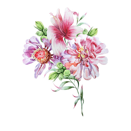 Bright bouquet with flowers peony and hibiscus. Watercolor illustration. Hand drawn. Imagens