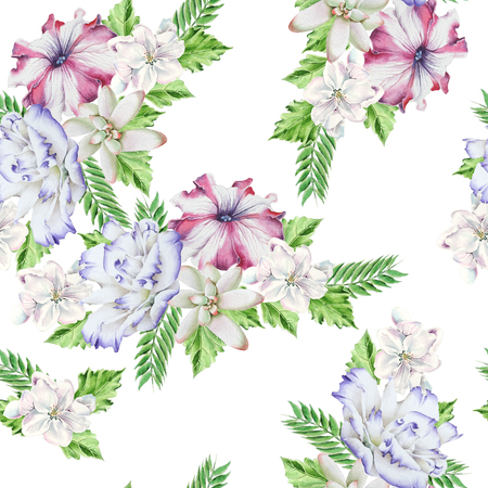 Bright seamless pattern with flowers. Petunia. Eustoma. Succulent. Watercolor illustration. Hand drawn. Imagens