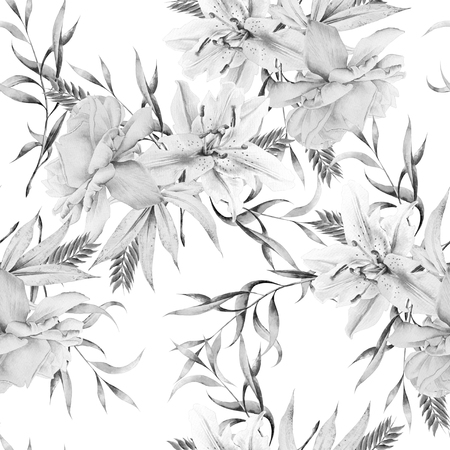 Monochrome seamless pattern with flowers. Rose. Lily. Watercolor illustration. Hand drawn.