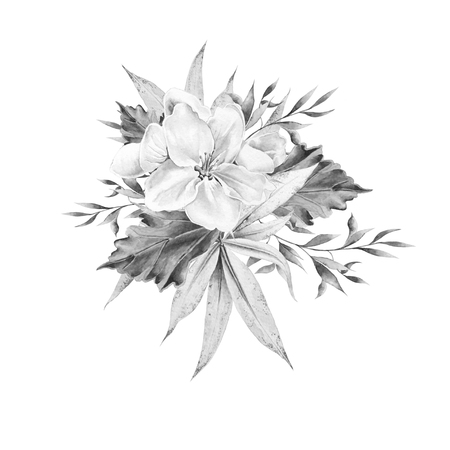 Monochrome bouquet with flower and leaves. Watercolor illustration. Hand drawn.