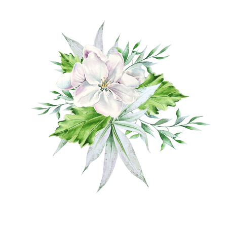 Bright bouquet with flower and leaves. Watercolor illustration. Hand drawn. Imagens