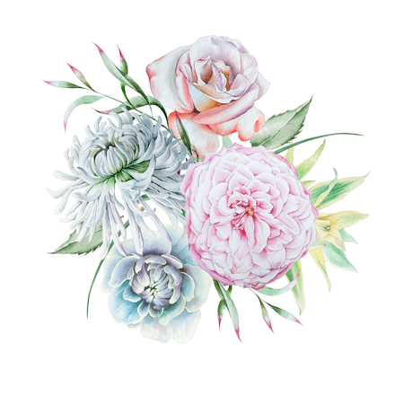 Watercolor bouquet with flowers.   Rose. Chrysanthemum. Peony.  Watercolor illustration. Hand drawn. Imagens
