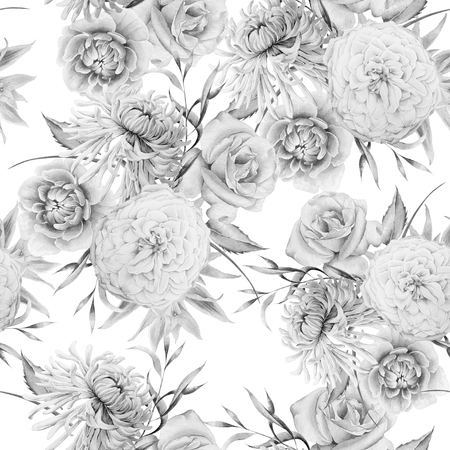 Monochrome seamless pattern with flowers. Rose. Chrysanthemum. Peony.  Watercolor illustration. Hand drawn. Imagens