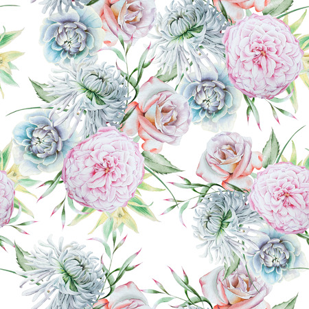 Bright seamless pattern with flowers. Rose. Chrysanthemum. Peony.  Watercolor illustration. Hand drawn. Imagens