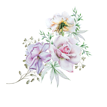 Watercolor bouquet with flowers.   Rose. Illustration. Hand drawn.