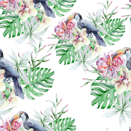 Tropical seamless pattern with birds leaves and flowers. Peony. Tucan.  Monstera. Orchid.   Watercolor illustration. Hand drawn. Imagens