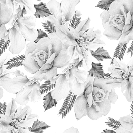 Monochrome  seamless pattern with flowers. Rose. Lily. Watercolor illustration. Hand drawn. Imagens