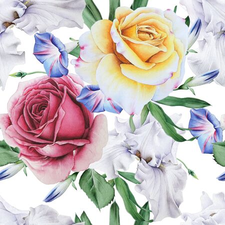 Bright seamless pattern with flowers. Rose. Iris. Watercolor illustration. Hand drawn.