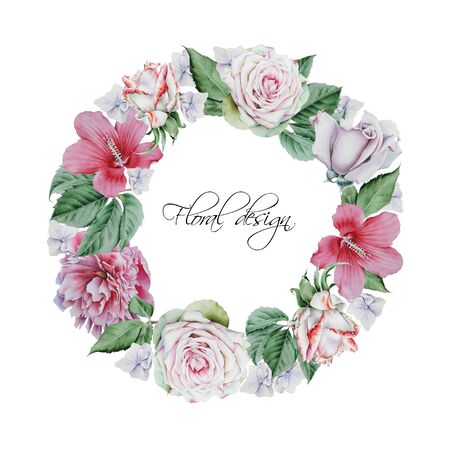 Wreath with watercolor flowers and leaves. Hand drawn Imagens