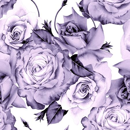 Bright seamless pattern with flowers. Rose. Watercolor illustration. Hand drawn. Imagens