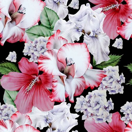Bright seamless pattern with flowers. Hibiscus. Iris. Gladiolus.                                 Watercolor illustration. Hand drawn.
