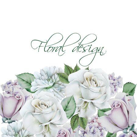 Greeting card with flowers. Rose. Chrysanthemum. Hand drawn. Imagens