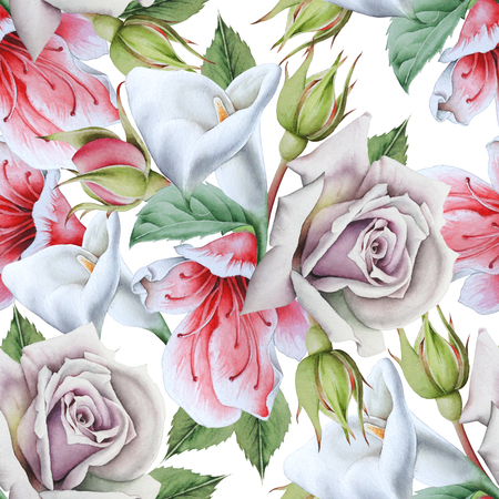 Bright seamless pattern with flowers. Calla. Rose. Watercolor illustration. Hand drawn.