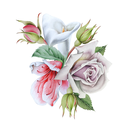 Watercolor bouquet with flowers. Calla. Rose.  Illustration. Hand drawn. Zdjęcie Seryjne