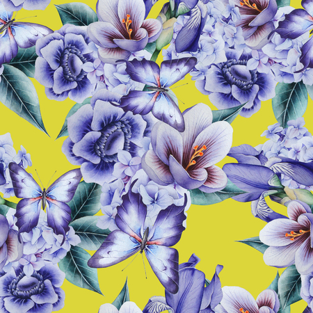 Bright seamless pattern with flowers. Crocus. Anemone. Iris.  Watercolor illustration. Hand drawn.