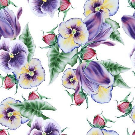 Bright seamless pattern with flowers. Pansies. Tulip. Peony.                      Watercolor illustration. Hand drawn.