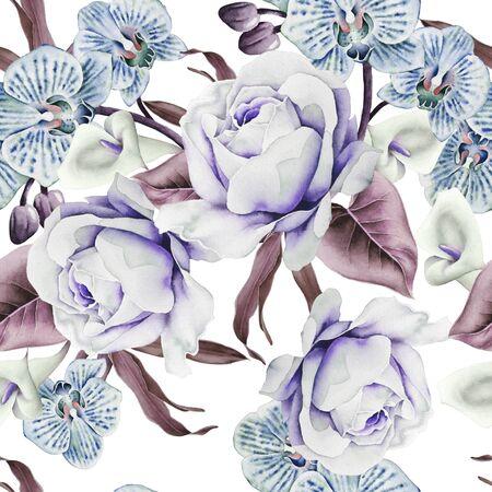Patrón transparente brillante con flores. Rosa. Orquídea. Calla. Ilustración de acuarela. Dibujado a mano.