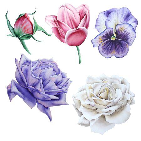Con flores de acuarela. Dibujado a mano.