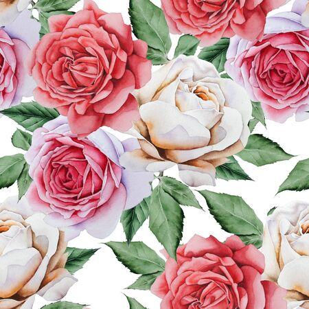 Patrón transparente brillante con flores. Rosa. Ilustración de acuarela. Dibujado a mano.