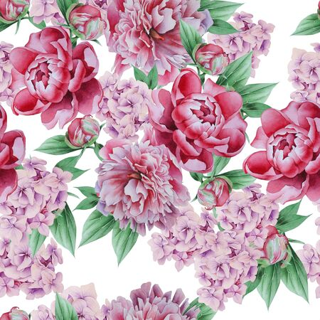 Bright seamless pattern with flowers. Peony. Watercolor illustration. Hand drawn. Foto de archivo