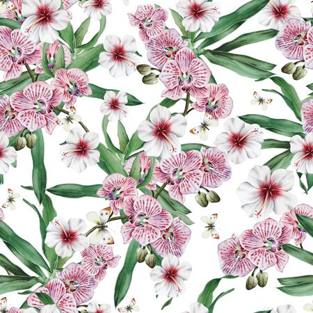 Bright seamless pattern with flowers. Hibiscus. Orchid. Butterfly.                      Watercolor illustration. Hand drawn. Stock Photo