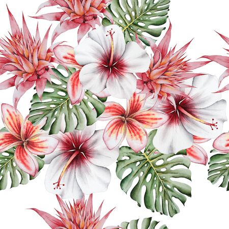 Bright  tropical seamless pattern with flowers. Monstera. Hibiscus. Bromeliad. Plumeria.  Watercolor illustration. Hand drawn.