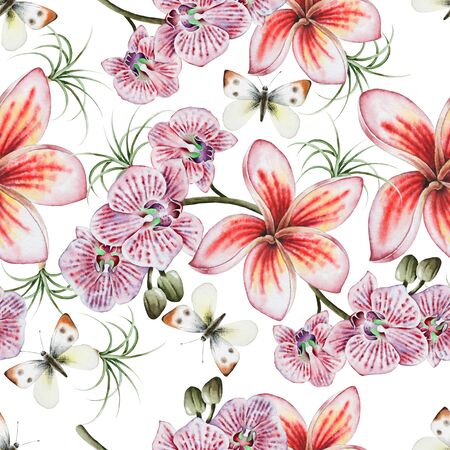 Bright seamless pattern with flowers. Plumeria. Orchid. Butterfly.  Watercolor illustration. Hand drawn.