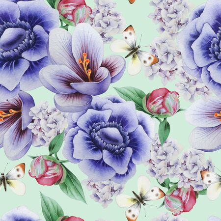 Bright seamless pattern with flowers. Crocus. Anemone. Peony.  Watercolor illustration. Hand drawn.