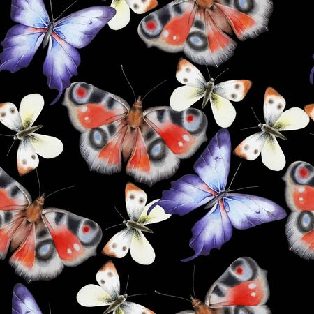 Bright seamless pattern with butterflies. Watercolor illustration. Hand drawn. Banco de Imagens