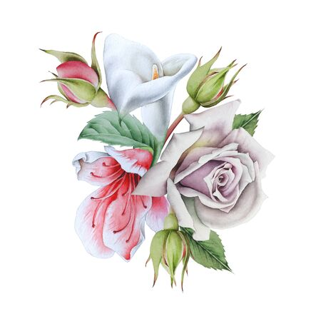 Watercolor bouquet with flowers. Calla. Rose.  Illustration. Hand drawn. Stock Photo