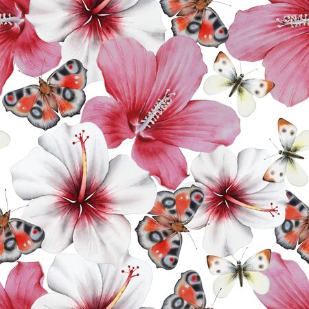 Watercolor bouquet with flowers and butterflies.  Hibiscus. Illustration.  Hand drawn. Stock Photo