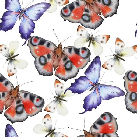 Bright seamless pattern with butterflies. Watercolor illustration. Hand drawn. Stock Photo